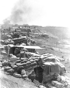 Bunkers on the southern perimeter of the Khe Sanh combat base, 3MAR1968.