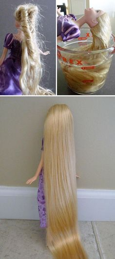 50 Genius Parenting Hacks That Every Parent NEEDS To Know Use a mixture of water, dish soap and hair conditioner to easily detangle Barbie's hair. (This mixture also cleans her hair, which is a bonus. Kids And Parenting, Parenting Hacks, Foster Parenting, Parenting Issues, Parenting Plan, Parenting Quotes, Fix Doll Hair, Barbie Hair Fix, Mama Hacks