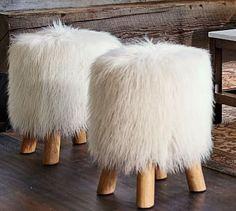 Mongolian Faux Fur Stool #potterybarn