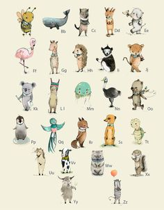 French ABC Animal Alphabet Poster, These would perfect to hang in the nursery, frame in a kids room, to use in teaching your kids the alphabet. Paper
