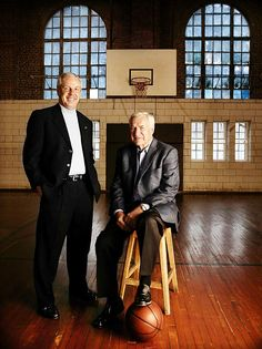 UNC legendary basketball coaches Roy Williams and his mentor, Dean Smith - greatness personified!! Photographed by Bill Frakes at Woollen Gym, the oldest gym on Carolina's campus.