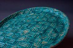 ceramic plate, handmade, blue