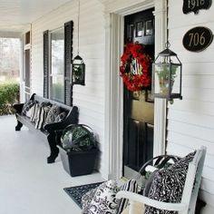 Black and White Farmhouse Front Porch Mini-Makeover