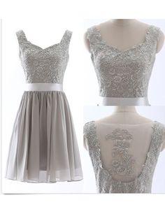 Retro Straps A-line Knee Length Chiffon Lace Silver Bridesmaid Dress With Sash