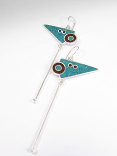 Sterling Silver Earrings  Turquoise and by maldonadojoyas on Etsy