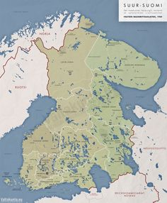 An alternative outcome for Finland if the Finno-Soviet wars and World War II had gone differently Historical Maps, Historical Pictures, Iconic Photos, Old Photos, History Of Finland, Imaginary Maps, Map Pictures, Lappland, Fantasy Map