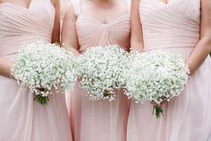 Baby's breath wedding bouquets | Tented Charleston Wedding Magnolia Plantation via @StorybrdWedding