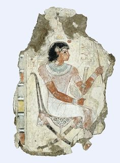 Fragment of a polychrome tomb-painting representing Nebamun seated (probably associated with the goose census scene from the same tomb) with remains of five vertical registers of polychrome-painted hieroglyphs.