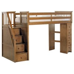 This honey-finished stair loft has everything your child needs. Including a twin bed on top and your choice of a twin or full size lower bed, both feature a mattress-ready slat system. The lower bed includes casters for easy moving.