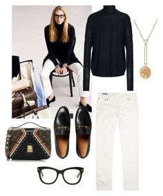 """White denim"" by anna-danielsson-1 on Polyvore featuring Gucci, Tom Ford, Acne Studios, Retrouvai and Louis Vuitton"