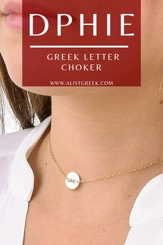 Shop the perfect Delta Phi Epsilon engraved choker from www.alistgreek.com starting at $30! #jewelry #choker #discnecklace #necklace #layering #layerednecklace #greekletters #custom #engraved #personalized #gold #silver #sorority #sororitylife #sororityletters #dphie #deltaphiepsilon #dphieletters #biddaygifts