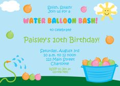 water balloon party invitation water balloon by TheButterflyPress