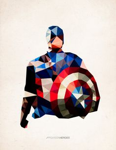 "Polygon Heroes - Captain America Art Print, by TheBlackeningCo, ART PRINT / MEDIUM (GALLERY) (17"" X 21""), $40.00"
