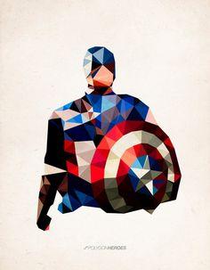 "Polygon Heroes - Captain America Art Print, by TheBlackeningCo, ART PRINT / MEDIUM (GALLERY) (17"" X 21""), $40.00"