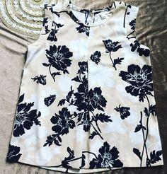 J. Crew Womens Loose Top Floral Print, Black, Beige& White, Sz M  | eBay