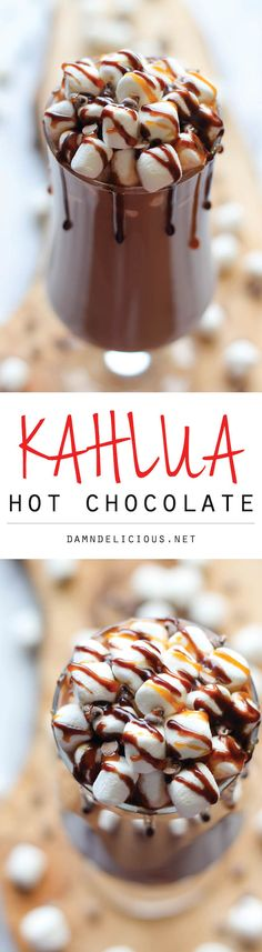 Chocolate Kahlua Hot Chocolate - So cozy, so boozy, and so perfect for these chilly nights!Kahlua Hot Chocolate - So cozy, so boozy, and so perfect for these chilly nights! Christmas Drinks, Holiday Drinks, Holiday Recipes, Party Drinks, Christmas Recipes, Christmas Coffee, Yummy Treats, Sweet Treats, Yummy Food