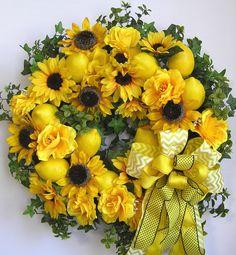 Spring Wreath, Summer Wreath, Lemon Wreath, Sunflower Wreath, Mother's Day Wreath, Yellow Wreath by WreathbyHH on Etsy https://www.etsy.com/listing/228515976/spring-wreath-summer-wreath-lemon-wreath