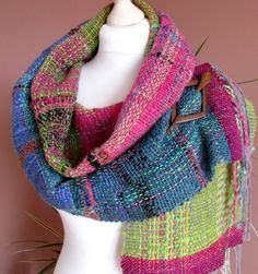 Handwoven Scarf made of handspun hand dyed gradient Art Yarn.Handwoven wool scarf.Saori women's  shawl.