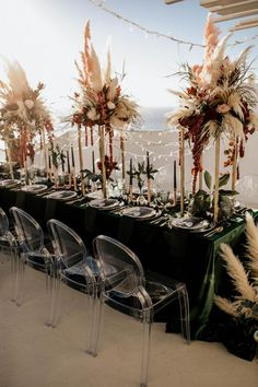 Modern, moody and bohemian wedding in Greece with the coolest group of friends. Modern Wedding Centerpieces, Boho Wedding Decorations, Grass Centerpiece, Floral Wedding, Wedding Flowers, The Knot, Santorini, Wedding Ties, Wedding Reception