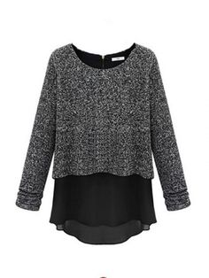 Fake Two Pieces Long Sleeve Knit Blouse