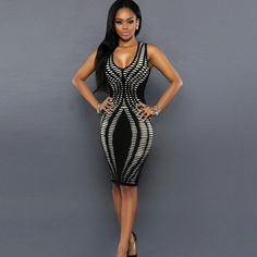 Sexy Women Dress Bandage Cocktail Sleeveless Bodycon Evening Party Dresses New #Unbranded