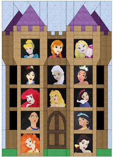 Incomplete Disney Princess quilt.  The narrow windows at the sides are for animal companions.  This would also be great to fill up with characters from different fandoms.