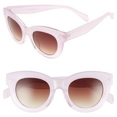 A.J. Morgan 'Emma' 48mm Sunglasses ($24) ❤ liked on Polyvore featuring accessories, eyewear, sunglasses, pink, plastic glasses, a.j. morgan, gradient lens sunglasses, plastic lens glasses and a.j. morgan sunglasses