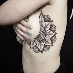Mandala side boob tattoo