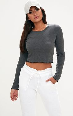 3826fd7f8f0 Grey Ribbed Longsleeve Frill Edge Crop Top Ribbed Top, Ribbed Fabric, Best  Cardio Workout