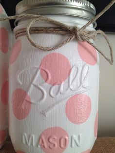 polka dot colored mason jars home decor nursery decor baby shower gift