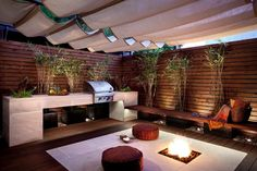 clean lines built in bbq, separated from wall with plants, canvas retractable roof