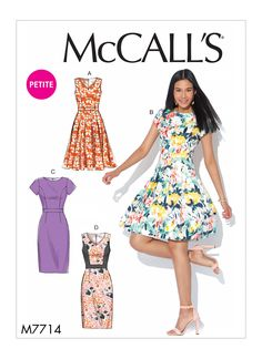 Misses and Miss Petite Dresses McCalls Sewing Pattern 7714 from Sew Essential. Buy with confidence from experts who care. Free delivery on orders and over. Mccalls Sewing Patterns, Vintage Sewing Patterns, Clothing Patterns, Dress Making Patterns, Easy Dress Pattern, Sewing Crafts, Sewing Tips, Sewing Projects, Sewing Ideas