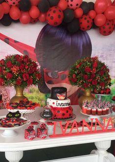 5th Birthday, Birthday Ideas, Birthday Cake, Lady Bug, Miraculous Ladybug, Party, Desserts, Food, Candy Table