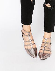 Super fede ASOS LOOKOUT Caged Pointed Ballet Flats - Silver ASOS Flade Sko til Damer i behagelige materialer