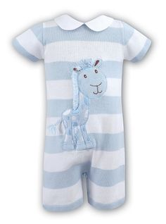 Knit Shortall with Peter Pan Collar for Baby Boys.  Giraffe Applique on Blue and White Stripes.  Dani by Sarah Louise, $53.00
