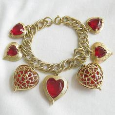 Vintage Gold Tone Red Glass and Rhinestones by MyVintageJewels, $32.00