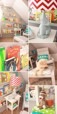 What a great use of this odd-shaped wall! It makes picking out a book for story time super easy! :)