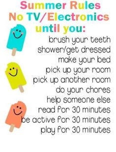 Summer Rules Printable keep your summer organized and keep kids on task