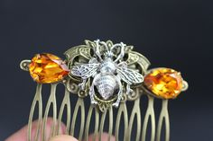 Bee steampunk victorian vintage antiqued brass crystal hair comb by simplychic93 on Etsy
