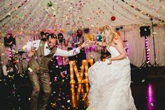 Confetti Canon Bomb First Dance All Things Big Bright Beautiful Multicolour Wedding http://benjaminmathers.co.uk/