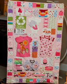 I had this quilt made for my girl. It's all her clothes that have a memory or something special linked to it in her first year of life. I LOVE IT!!!!!