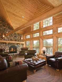 Don't forget the fireplace when planning your dream cabin or log home
