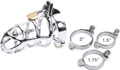"""ALL 3 RINGS ARE INCLUDED! 1.5"""" / 1.75"""" / 2"""" ~ CHASTITY COCK CAGE ~ #1 BEST SELLER ~ DELUXE STEEL Bondage Penis Intruder with Padlock ~ M300 Shipped in Discrete Package , No Invoices Included, Item in Velvet gift Pouch"""