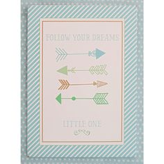 "Adorable wooden Follow Your Arrow in Aqua Wall Plaque with ""Follow Your Dreams Little One"" message coordinates with our Follow Your Arrow in Aqua Bedding Collection. Measures 14"" x 10"" x 1/4"".  Imported."