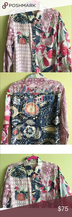 Colorful Desigual Long Sleeve Sleeve Collar Shirt Exclusive Colorful Mens Long Sleeve Button Up Collar Shirt by DESIGUAL  Mens Size: MEDIUM 100% Cotton Condition: New Without Tags  ***LIGHTNING FAST DELIVERY***  Expect within 2-3 days after cleared purchase Desigual Shirts Casual Button Down Shirts