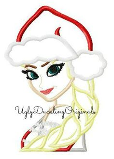 Frozen Princess Elsa Christmas Santa Hat Machine Embroidery Applique Design Digital Download