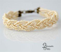 Cream Seed Bead Braided Bracelet