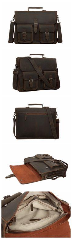 the latest 9b9de 9a704 Handcrafted Rustic Leather Briefcase, Messenger Bag, Laptop Bag, Men s  Handbag Vintage Herrar