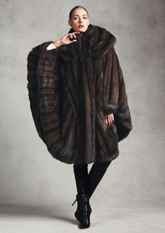 Carmen Marc Valvo Directional Russian Sable Cape Coat