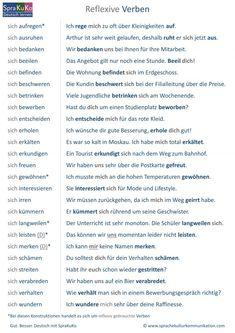 Verben Liste Reflexive Verben Study German, German English, Learn German, German Grammar, German Words, Reflexive Verben, Verben Mit Dativ, Adjectives For Kids, Application Cover Letter
